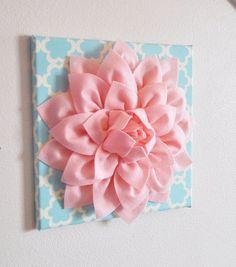 "Wall Flower -Light Pink Dahlia on Blue Tarika 12 x12"" Canvas Wall Art- Baby Nursery Wall Decor- on Etsy, $34.00"