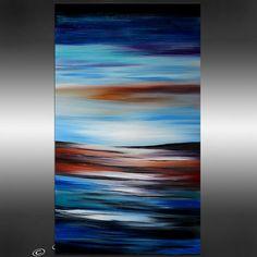 Art de Blue Horizon marin peinture abstraite 48 Original