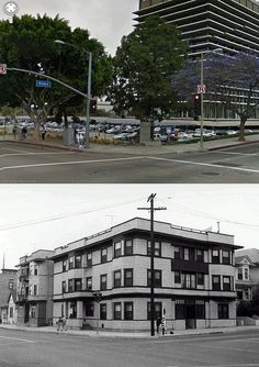view looking north west towards the intersection of hope street and 1st street 1955 and now by gsjansen, via Flickr