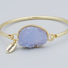 Blue faux Druzy gold bracelet New! Gold tone 2.5 inch diameter hook bangle. Beloved charm This is not from my handmade Druzy style collection. Bundle and save 15%. No trades.  PRICE FIRM if not bundled. Jewelry Bracelets