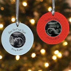 Personalized Baby Sonogram Photo Christmas Ornament - such a cute idea! This would be such a cool way to announce that you're pregnant ... have Grandma or Grandpa open it on Christmas for the surprise! #Baby