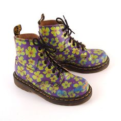 Doc Martens Floral Boots | Doc Martens Boots 1990 Floral Leather Kids by purevintageclothing