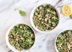 Herbed Quinoa & Chickpea Salad with Lemon-Tahini Dressing - http://purplenanny.mywikaniko.com/2016/11/herbed-quinoa-chickpea-salad-with-lemon-tahini-dressing/