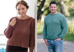 His & Hers Sweaters  Brand: Elle Count:Double Knit Yarn:Country Tweed Size From:4 years Size To:127 cm