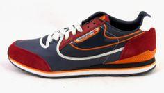 New Diesel Aramis Red Blue Orange Suede Running Sneaker Shoe Casual Retro Sz 10   eBay