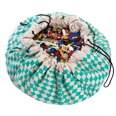 Play & Go opbevaringspose/tæppe, harlekintern mint