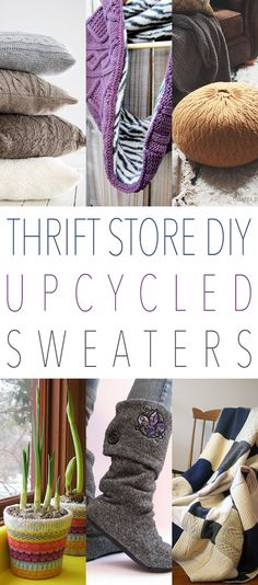The Thrift Shop shelves are filled with all kinds of sweaters! Different sizes…colors…patterns…textures and more. Well they are not just all about keeping warm in the Winter any more…we are here to share yet another Collection of Thrift Store DIY Upcycled Sweaters. From Dog Beds to Comfy Throws…from Cozy Poufs to Vase Cozies and much …