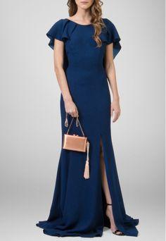 POWERLOOK - Aluguel de Vestidos Online -Vestido Lótus longo com babados Marcelo Quadros - azul #marceloquadros #lotus #vestidolongo #babados #azul #vestidoazul #fenda #vestidofesta #vestidocasamento #vestidomadrinha #madrinha #casamentonoite #noite