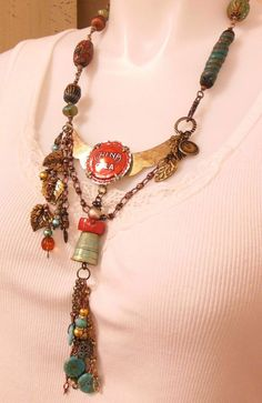 Boho Necklace, Artisan, China Cola, Found Items, Tassel, by B'sue