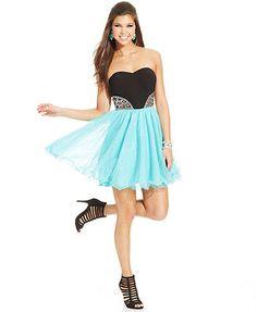 Blondie Nites Juniors' Strapless Colorblock Dress $124.99