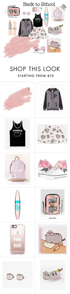 """#PVxPusheen"" by blackheaven on Polyvore featuring Jane Iredale, Pusheen, Converse, Maybelline, Benefit and Casetify"