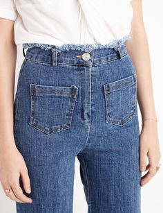 Frayed Stretch Flared Jeans #fashion #pixiemarket