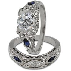 Antique Diamond Sapphire Two Ring Engagement Setting -  This two ring engagement set will hold up to 1.00ct round (OR 6.75mm maximum ) center diamond.    These are set with marquise shape diamonds and sapphire accents. Antique style wedding bands are popular and in demand. The engagement rings have filigree, open scrollwork and delicate lines. These rings are made with a heavy gold weight which insures years of carefree wear.    The characteristics of such rings are milgrain, engraving…