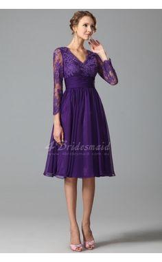 Regency Knee Length V-neck Lace,Chiffon A-line With Sleeve Bridesmaid Dresses (JT1847)