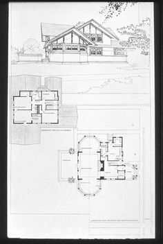Drawing - Hickox/Brown House / 687 S. Harrison Ave., Kankakee, IL / 1900 / Prairie / Frank Lloyd Wright