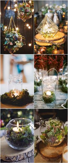 122 Best Enchanted Forest Wedding Ideas You'll Want To Steal Romantic Geometric Wedding Centerpieces Light Candels Greenery Moss enchanted Enchanted Forest Prom, Enchanted Forest Decorations, Enchanted Wedding Themes, Enchanted Garden, Forest Wedding Decorations, Enchanted Forest Quinceanera Theme, Wedding Reception Centerpieces, Reception Ideas, Moss Wedding Decor