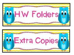 CLASSROOM LABELS {OWL THEME} - TeachersPayTeachers.com