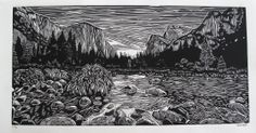 Yosemite Valley Linocut Print by Eric Rewitzer 3 Fish Studios Linocut Prints, Art Prints, Block Prints, Lino Art, Street Art, Landscape Tattoo, Engraving Art, Linoprint, Yosemite Valley