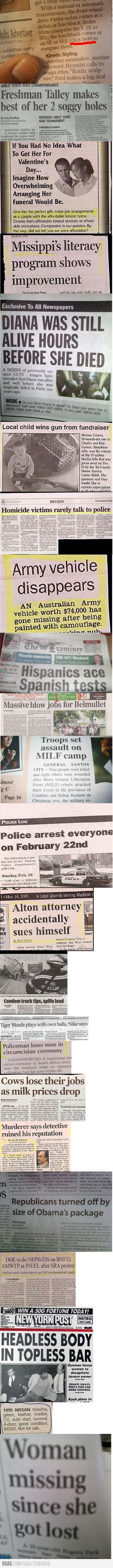 Some unlucky articles in newspapers...the worst part is that I live in the region where one of the articles was published.