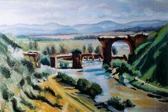 """Copia da """"Il ponte di Narni"""" di C. Corot. Olio su cartone telato"""