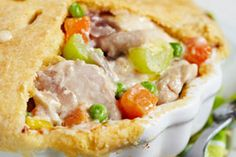 Big Daddy's Cheater's Chicken Pot Pie  Food Network's Big Daddy Aaron McCargo Jr. shares his secret to a quick dinner recipe that's tasty and healthy at just 372 calories and 14 grams fat per serving. This meal can also be made using an alternative slow-cooking method.