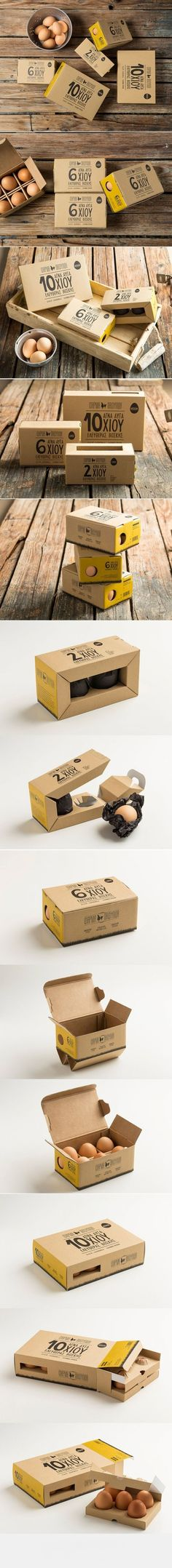 The material used is kraft cardboard 400gr and the packaging was designed so that the product is exposed in order for the consumer to have visual contact with it, stressing the larger size of the eggs. Each egg is wrapped in black thin paper for protection and differentiation from the competition.