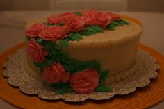 This is a gluten-free cinnamon cake with butter cream frosting made for an anniversary.
