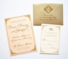 Blush and Gold Wedding Invitations by Whimsy B. Paperie, $5.25