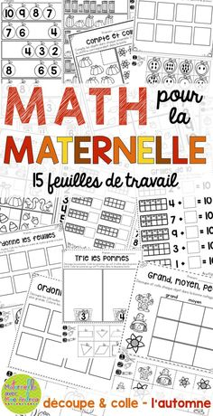 15 autumn-themed, cut-and-paste, no-prep math worksheets en français! Perfect for substitutes or to consolidate a lesson. Counting, patterning, number sense, sorting, etc.! Learning French For Kids, How To Teach Kids, Ways Of Learning, French Teaching Resources, Teaching French, Sorting Kindergarten, Kindergarten Activities, Math Blocks, French Education