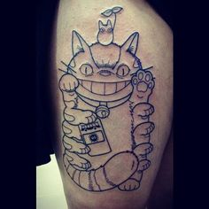 """Started an outline tonight of this catbus maneki neko. Thank you so much @undeaddee ♡♡ Can't wait to add color!  #sunsettattooparlour #catbus #myneighbortotoro #sootsprite #buspass #leaf #beckoningcat #inprogress #outline"" Photo taken by @andy_cordero on Instagram, pinned via the InstaPin iOS App! http://www.instapinapp.com (01/08/2016)"