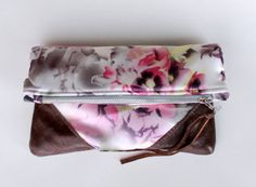 Fold over clutch silk satin and leather clutch by Amayahandmade, $40.00