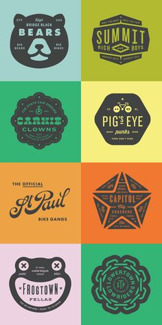 Individual badges for a bunch of clients and graphic projects.