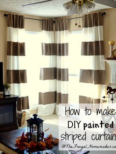 How to make DIY painted striped curtains. http://www.ivillage.com/diy-window-treatments/7-a-554103