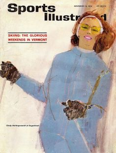 Skiing. Vintage Sport Illustrated Magazine Cover by Bernie Fuchs, Nov 1963. I adore his loose brush work.