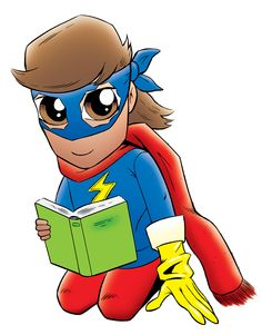 Girl cosplaying Ms. Marvel while reading a book. Free alternative artwork for this year's CSLP theme of Every Hero Has a Story! Five different children cosplaying superheroes both in color and black and white (which is perfect for coloring sheets). Link includes comic book style font options to download | Hafuboti