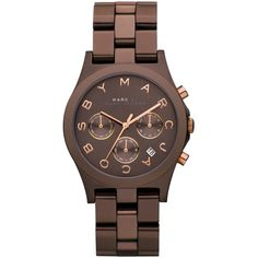 Marc By Marc Jacobs Ladies' Henry Brown Chronograph Watch (6 855 UAH) ❤ liked on Polyvore featuring jewelry, watches, accessories, brown watches, marc by marc jacobs, brown jewelry, brown wrist watch and chronograph watch