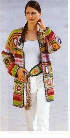 Une veste avec des granny multicolores - La Grenouille Tricote
