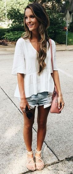 #summer #outfits  White Top + Ripped Denim Short + Light Sandals