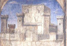 """Piero della Francesca, Castel Sismondo: dettaglio dell'affresco """"Sigismondo Pandolfo Malatesta in preghiera davanti a San Sigismondo"""", 1451, Tempio Malatestiano di Rimini."""