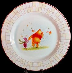 With its fall theme it would be great for Thanksgiving table. Winnie The Pooh Plate Luncheon Salad Disney Winnie Piglet Autumn Theme China