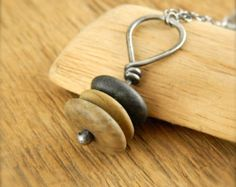 Beach stone necklace. Sterling silver cairn necklace. by erinbowe