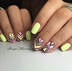 types of nail shapes Backpack Bags - The most beautiful nail designs Yellow Nails, Pink Nails, My Nails, Pastel Yellow, Types Of Nails Shapes, Nails Types, Tribal Nails, Trendy Nail Art, Manicure E Pedicure