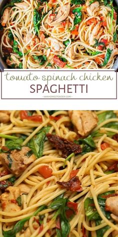 Tomato Spinach Chicken Spaghetti is a hearty winter comfort food recipe that is full of flavor! Spaghetti is tossed in a Pasta Recipes, Chicken Recipes, Dinner Recipes, Cooking Recipes, Healthy Recipes, Linguine Recipes, Healthy Food, Huhn Spaghetti, Spaghetti Spinach