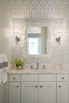Love love love this bathroom! Trellis paper is from Imperial.