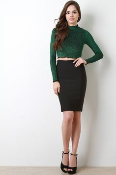 This sculpturing bandage skirt features a stretchy knit, seamless high waist, and knee length hem.Measurement Size Waist Hem Hip Length S 25 30 M 27 32 L 29 34 Crop Top Outfits, Short Outfits, Girl Outfits, Cute Girl Dresses, Sexy Dresses, Velvet Crop Top Outfit, Beautiful Girl Image, Beautiful Eyes, Long Maxi Skirts