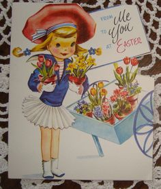Items similar to E108 Vintage Easter Greeting Card by Sterling Die Cut girl  and flower cart on Etsy 46a0d7848734