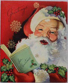 #683 50s Unused Jolly Festive Santa Claus- Vintage Christmas Greeting Card