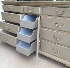 Maple hardwood buffet transformed with French Linen, touches of Old White and drawers painted with Loius Blue.