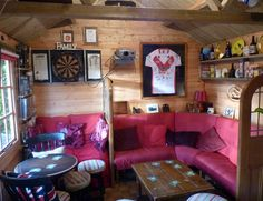 Son Creates Pub Shed In Memory Of His Dad | The LAD Bible Man Cave Shed, Man Cave Home Bar, Home Bar Designs, Pub Sheds, Pub Interior, Man Shed Interior Ideas, Bars For Home, Diy Shed Plans, Tiki Bar Decor