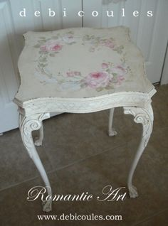 finished this beautiful antique ornate table! Decoupage Furniture, Hand Painted Furniture, Paint Furniture, Shabby Chic Furniture, Furniture Makeover, Vintage Furniture, Furniture Decor, Style Shabby Chic, Romantic Shabby Chic